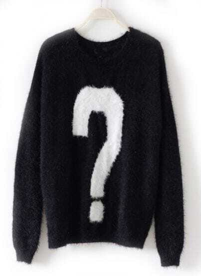 Black Long Sleeve Question Mark Pattern Knit Sweater