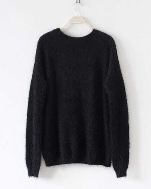 Black Long Sleeve Question Mark Pattern Knit Sweater -SheIn(Sheinside)