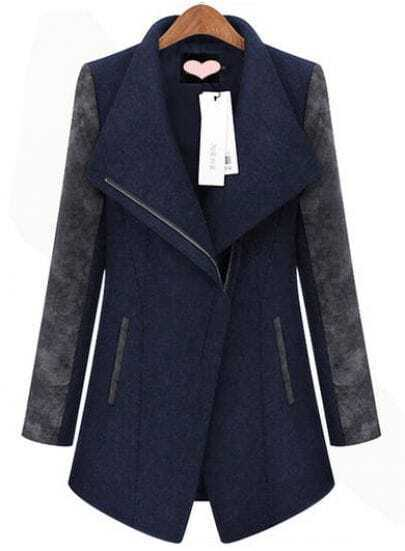 Navy Contrast Long Sleeve Zipper Trench Coat