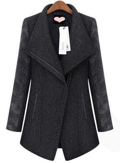 Grey Contrast Long Sleeve Zipper Trench Coat