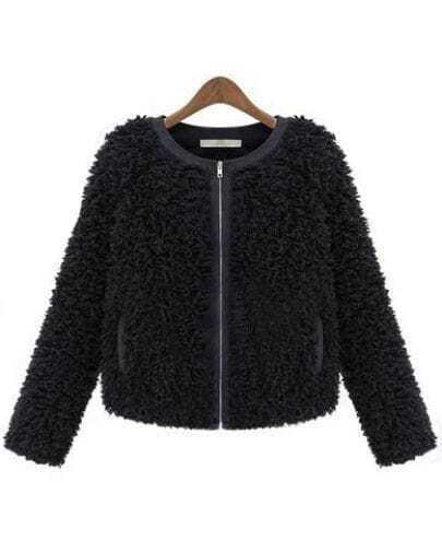 Black Long Sleeve Zipper Fur Crop Outerwear