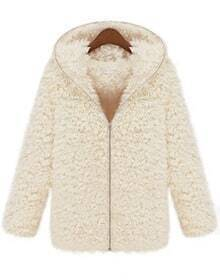 White Hooded Long Sleeve Zipper Fur Outerwear
