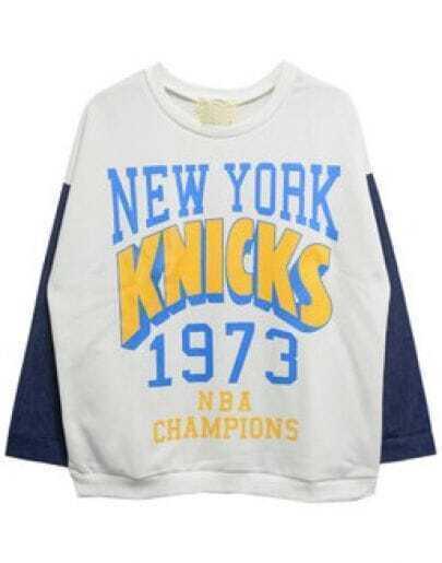 White Long Sleeve NEW YORK KNICKS Print Sweatshirt