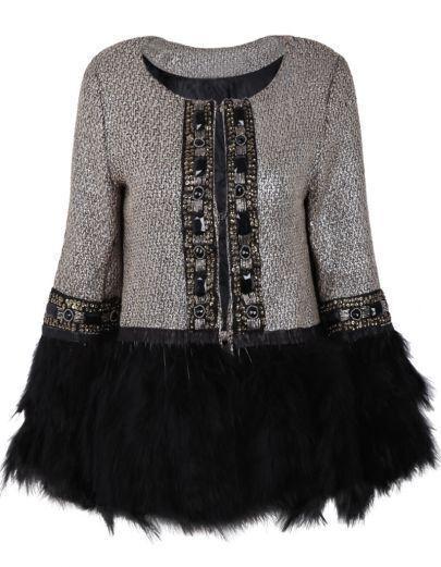 Grey Contrast Fur Long Sleeve Bead Outerwear