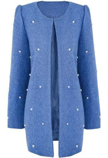 Blue Long Sleeve Pearls Embellished Coat