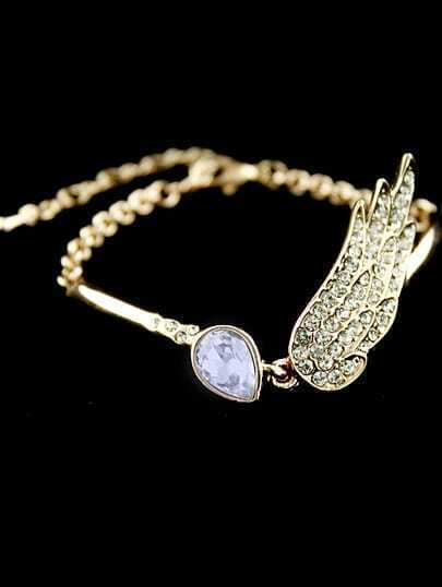 Purple Gemstone Gold Crystal Wing Link Bracelet