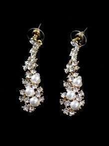 Gold Crystal Pearls Earrings