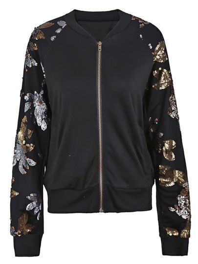 Black Sequined Floral Leaf Sleeves Bomber Jacket