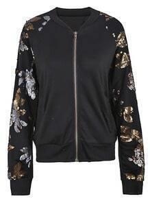 Black Sequined Floral Leaf Sleeves Bomber Jacket
