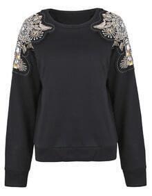 Black Patched Beading Crystal Shoulder Sweatshirt