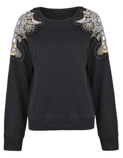 Black Patched Beading Crystal Shoulder Sweatshirt