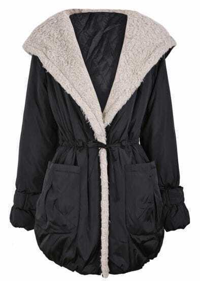 Black Fleece Wide Lapel Drawstring Waist Hood Coat