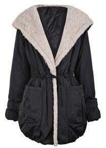 Black Fleece Wide Lapel Drawstring Waist Hood Coat