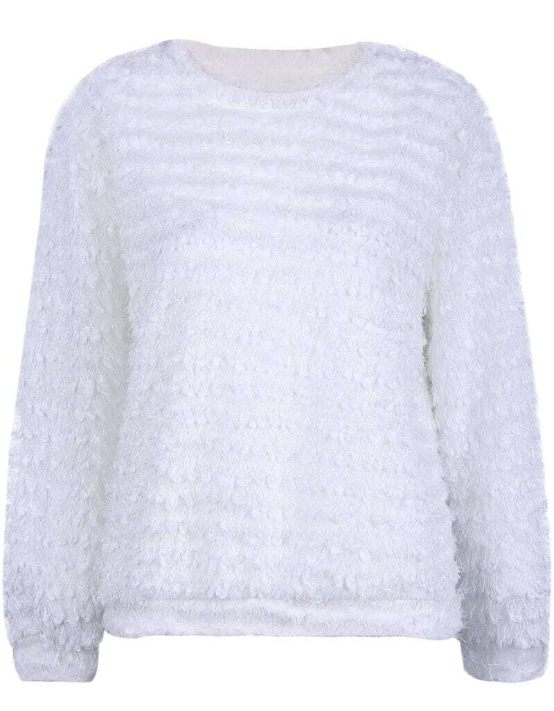 White Long Sleeve Fluffy Loose Sweater -SheIn(Sheinside)