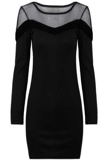 Black Contrast Mesh Yoke Long Sleeve Dress