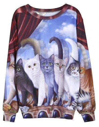Multicolor Seven Cats Print Unisex Sweatshirt