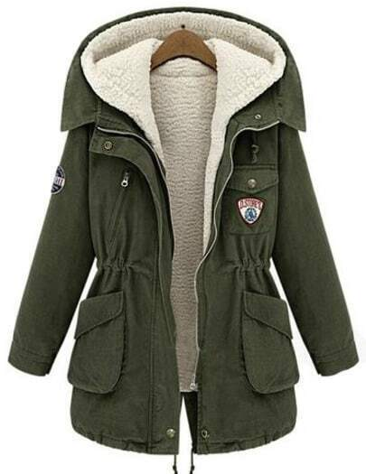 Army Green Hooded Long Sleeve Pockets Two Pieces Coat