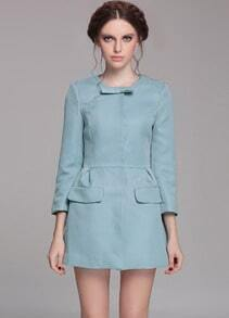 Blue Long Sleeve Bow Slim Pockets Trench Coat