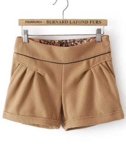 Khaki Lining Floral Woolen Shorts