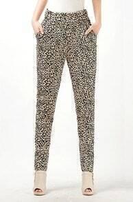 Leopard Elastic Waist Pockets Pant