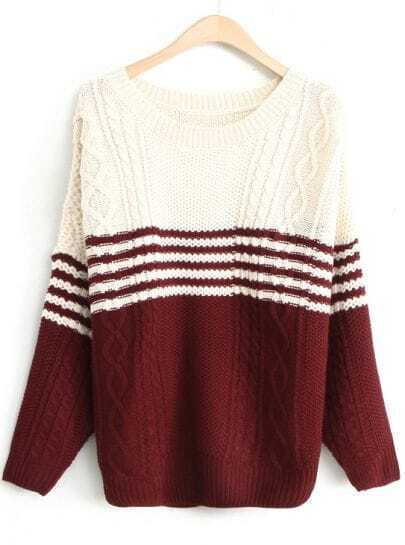 White Wine Red Batwing Long Sleeve Cable Knit Sweater
