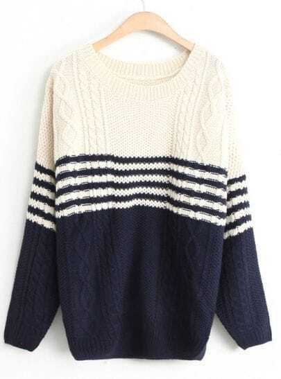 White Navy Batwing Long Sleeve Cable Knit Sweater