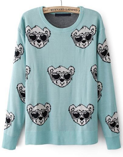 Blue Long Sleeve Glasses Bear Print Sweater