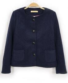 Navy Long Sleeve Pockets Crop Coat