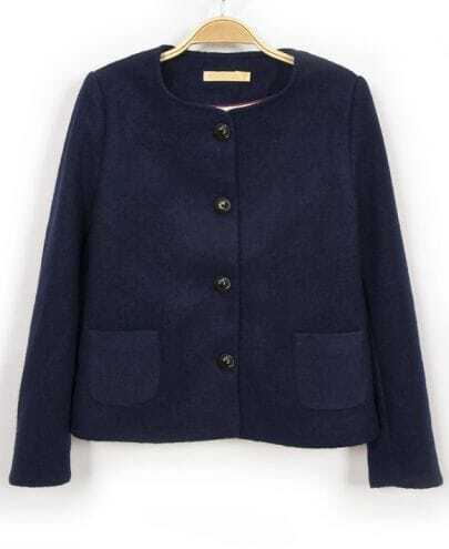 Navy Long Sleeve Pockets Crop Coat