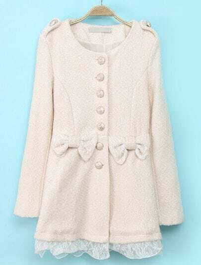Beige Long Sleeve Contrast Lace Bow Coat