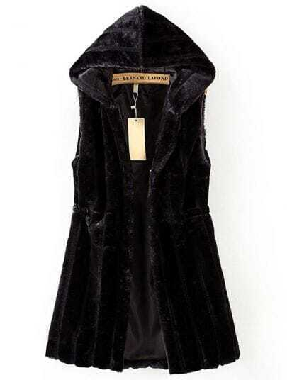 Black Hooded Sleeveless Fur Vest Coat