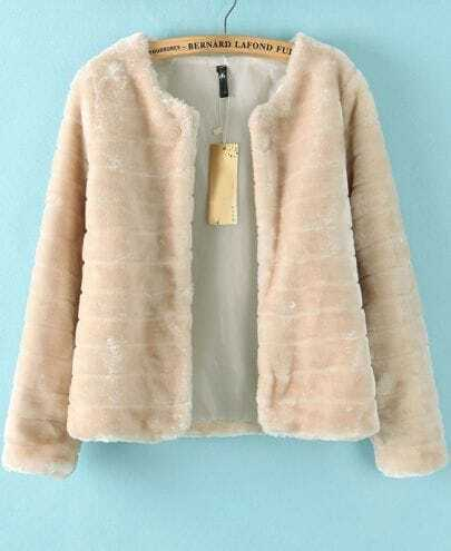 Beige Long Sleeve Fur Crop Coat