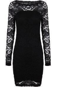 Black Contrast Lace Long Sleeve Embroidered Dress