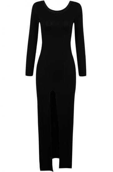 Black Long Sleeve Split Long Dress