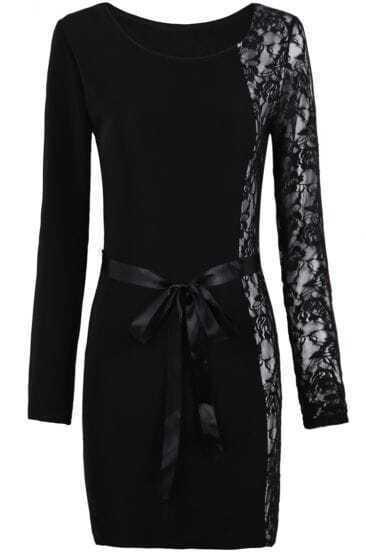 Black Long Sleeve Contrast Lace Belt Bodycon Dress