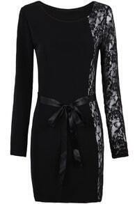 Black Long Sleeve Contrast Lace Belt Bodycon Dress