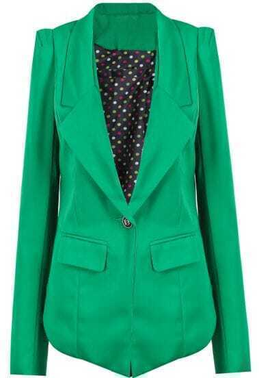 Green Notch Lapel Long Sleeve Slim Blazer