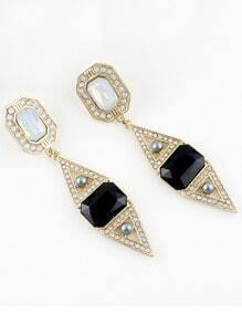 Black Gemstone Gold Bead Earrings