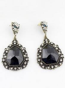 Black Gemstone Retro Gold Crystal Leopard Earrings