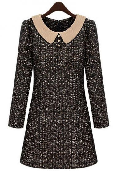 Black Contrast Lapel Long Sleeve Lace Dress