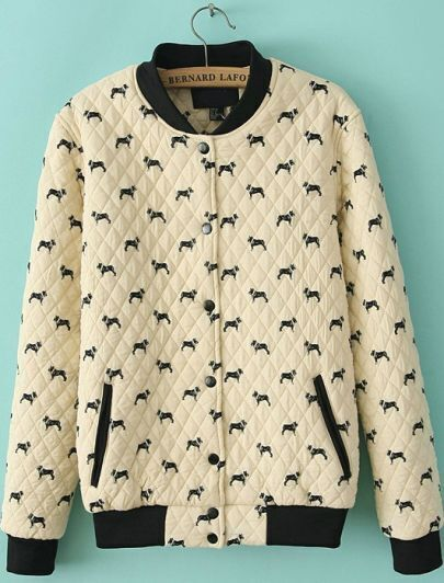 Beige Long Sleeve Dogs Print Jacket