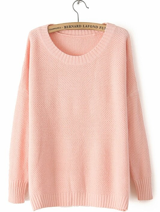 LIGHT PINK ROUND NECK LONG SLEEVE LOOSE SWEATER -SHEIN(SHEINSIDE ...