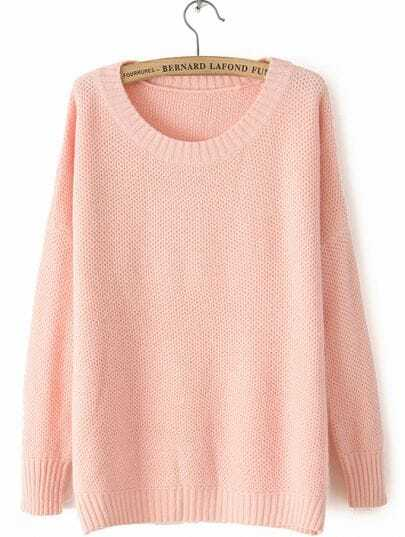 Light Pink Round Neck Long Sleeve Loose Sweater -SheIn(Sheinside)