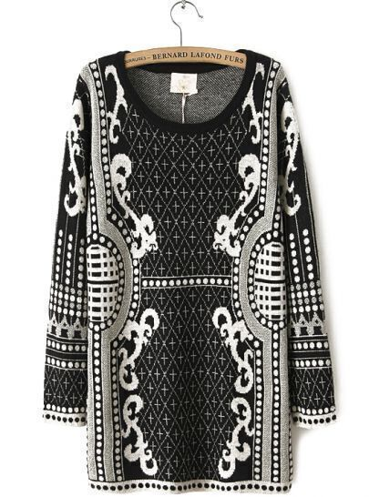 Black Long Sleeve Metallic Yoke Retro Pattern Sweater