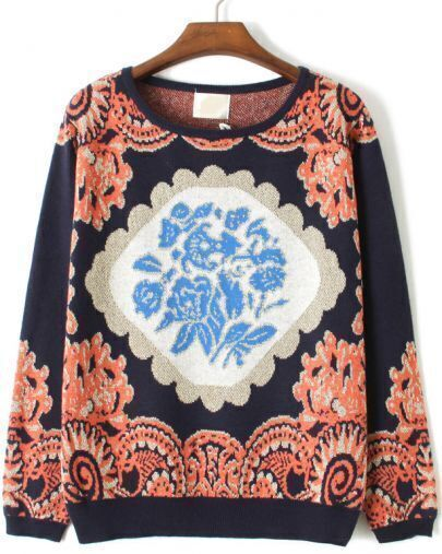 Blue Long Sleeve Floral Loose Sweater