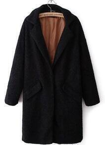 Black Lapel Long Sleeve Pockets Long Coat