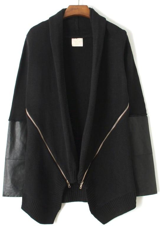 Black Long Sleeve Zipper Sweater Coat -SheIn(Sheinside)