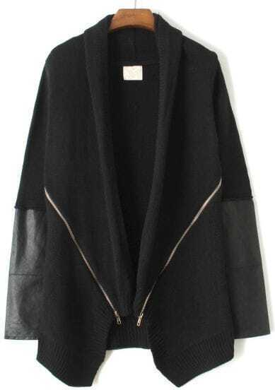Black Long Sleeve Zipper Sweater Coat