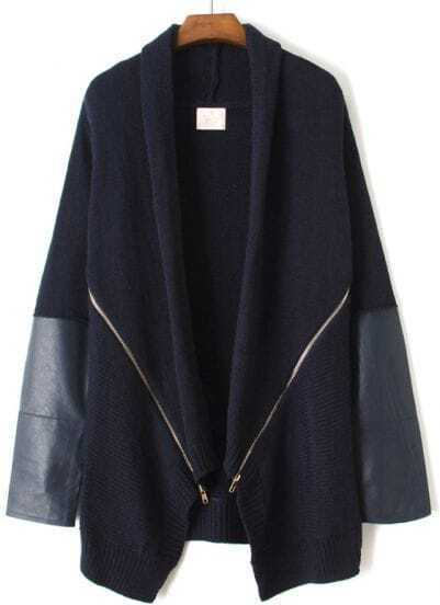 Navy Long Sleeve Zipper Sweater Coat