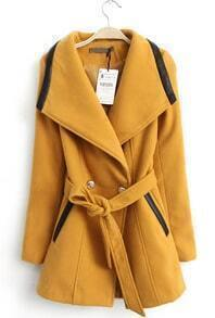 Yellow Lapel Contrast PU Leather Belt Coat